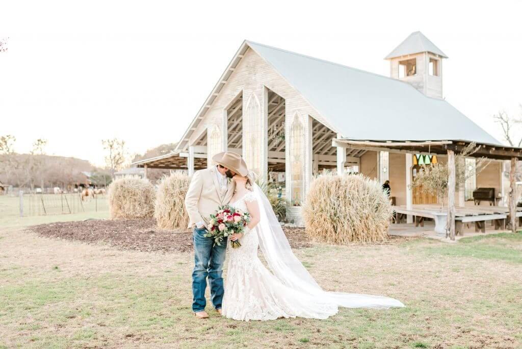 Bride and Groom at a Gruene Texas Wedding at Gruene Estate's open air chapel